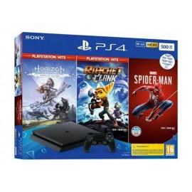 Console Sony Playstation PS4 500 GB Slim Black & Spiderman & Horizon Zero Dawn Hits & Ratchet and Clank Hits
